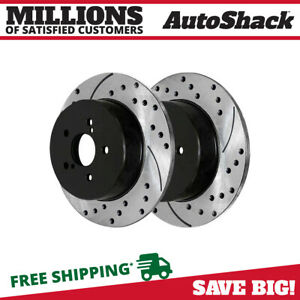 Rear Drilled Slotted Brake Rotors Pair 2 Fits 05 08 2009 Subaru Outback 980354