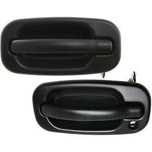 Door Handle Set For 1999 2006 Chevy Silverado 1500 Smooth Black Front Outer 2pc