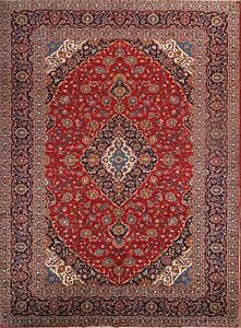 Vintage Traditional Floral Red 10x14 Signed Kashan Persian Oriental Area Rug