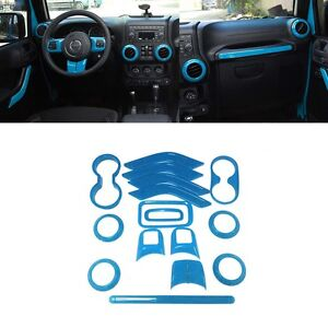 16x Light Blue Interior Cover Car Decoration Trim For Jeep Wrangler Jk 2011 2017