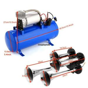 Air Horn 4 Trumpet Super Loud 150db 12v Compressor Set Car Truck Train Boat