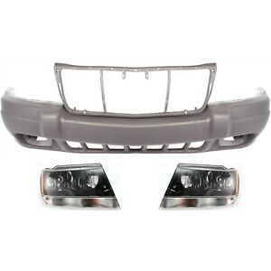 Bumper Cover Kit For 1999 2002 Jeep Grand Cherokee Front