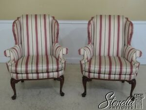 45255ec 56ec Pair Southwood Queen Anne Cherry Wing Back Chairs