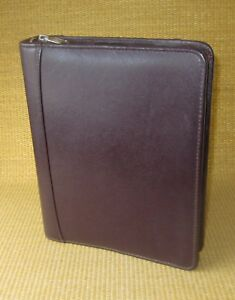 Classic 1 5 Rings Burgundy Leather Franklin Covey Zip Planner binder