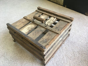 Vintage Antique Wood Egg Crate Carrier W Wood Handle 13 X7 W Mailing Labels