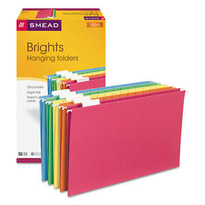 Smead Hanging File Folders 1 5 Tab 11 Point Stock Legal Assorted Colors 25 box