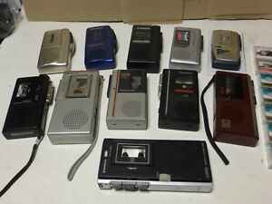 Lot Of 11 Vintage Micro Cassette Recorders Olympus Panasonic Sony Sanyo Aiwa