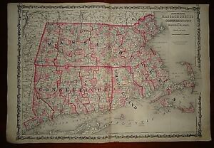 Vintage 1863 Massachusetts Connecticut Ri Map Old Antique Original Atlas Map