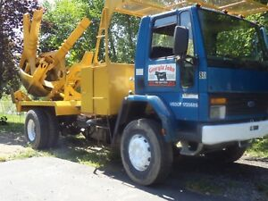 Big John 65 Tree Spade Mounted On 87 Ford Tranplant Larger Trees diesel Cat