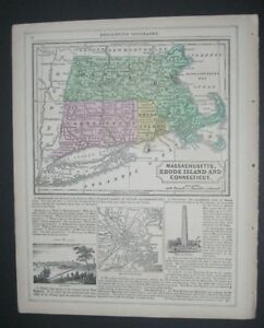 Antique Original Mitchell Atlas 1854 Map Massachusetts Connecticut Rhode Island