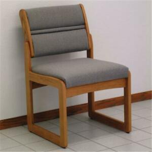 Wooden Mallet Dw2 1mocg Valley Armless Guest Chair In Medium Oak Charcoal Grey