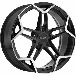 17x8 Black Petrol P1a Wheels 5x4 5 40 Fits Pontiac Vibe 5 Lug Only