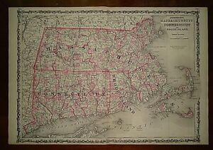 Vintage 1864 Massachusetts Connecticut Rhode Island Map Old Antique Original