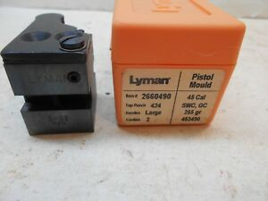 new Lyman 45 cal SWC GC 255 gr DBL cavity bullet mold 452490 reloading