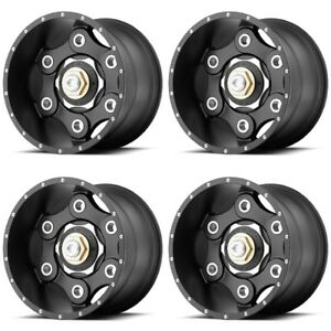 Set 4 22 Moto Metal Mo977 Link Black Rims 22x10 8x180 18mm Lifted 8 Lug Truck