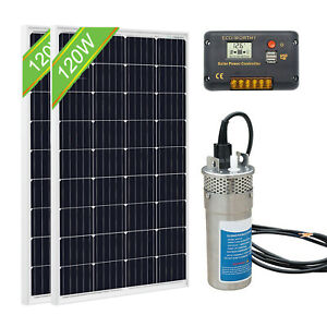 2 100w Solar Panel 24v 4 Deep Well S steel Submersible Water Pump Controller