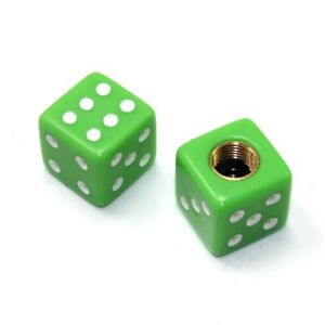 2 Universal Motorcycle Bike Lime Green Dice Tire Wheel Stem Valve Caps