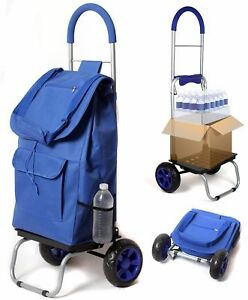 Trolley Dolly Blue Shopping Grocery Foldable Cart high Quality