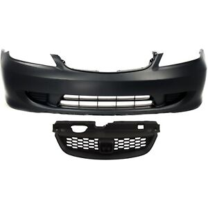 Bumper Cover Kit For 2004 2005 Honda Civic Front 2pc With Grille
