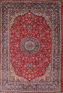 Vintage Traditional Floral Red 10x14 Najafabad Isfahan Persian Oriental Area Rug