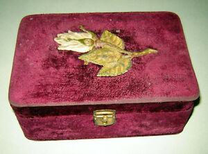 Antique Victorian Vintage Jewelry Sewing Trinket Box Red Bordo Velvet Mirror