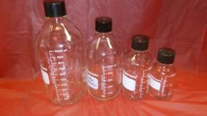 Many Set Of 4 High Quality Lab Glass 33 38 Mm Bottles media 1 L 500 250 125ml