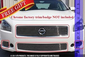 Gtg Polished 4pc Overlay Billet Grille Grill Kit Fits 2009 2011 Nissan Maxima