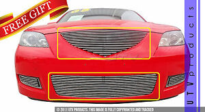 Gtg 2007 2009 Mazda 3 2pc Polished Replacement Billet Grille Grill Kit