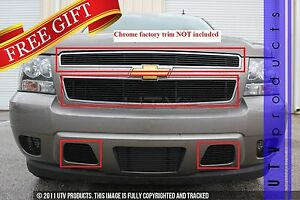Gtg 2007 2014 Chevy Tahoe 4pc Gloss Black Custom Combo Billet Grille Grill Kit