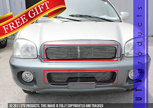 Gtg Polished 2pc Combo Billet Grille Grill Kit Fits 2001 2004 Hyundai Santa Fe