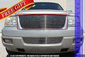 Gtg 2003 2006 Ford Expedition 1pc Polished Upper Replacement Billet Grille