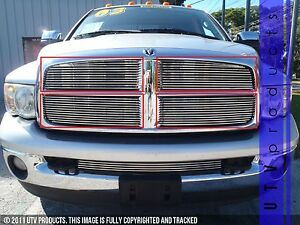 Gtg 2002 2005 Dodge Ram 1500 4pc Polished Upper Overlay Billet Grille Kit
