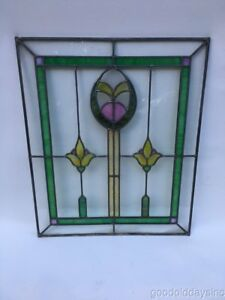 1 Of 2 Antique Chicago Bungalow Style 1920 S Stained Leaded Glass Window 24 20