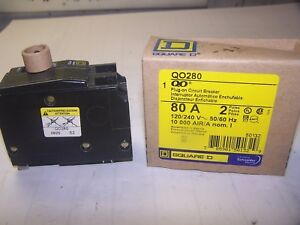 New Square D 80 Amp 2 Pole 240 Vac Circuit Breaker Qo280