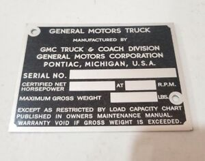 Gmc Truck Id Tag For Left Door Post All Gross Weights 1947 1952 Non Stamped