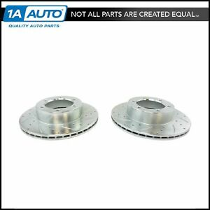 Nakamoto Front Performance Drilled Slotted Coated Brake Rotor Pair For Toyota