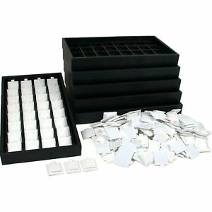 200 White Sterling Silver Earring Cards 6 Display Trays 6 Inserts
