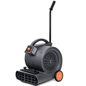 Air Mover Blower Floor Fan 3 Speeds Carpet Dryer W Wheels Commercial Home Grey