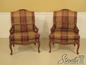 28375 Pair Of Councill Craftsmen French Style Upholstered Open Arm Chairs