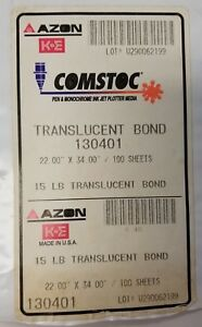 K e Comstoc Translucent Bond 15 Plotter Media Paper 17 X 22 38 Sheet Pack