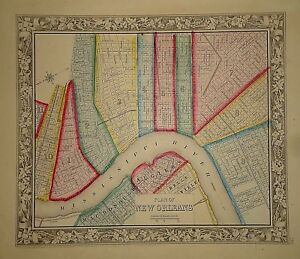 Vintage 1860 New Orleans Map Old Antique Original Atlas Map 42118