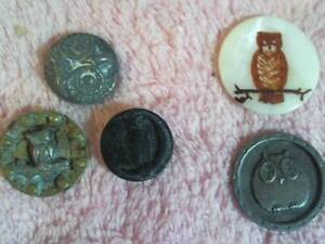 Lot Of 5 Owl Antique Vintage Buttons The Pewter One Is Nice 3 4 Others Fair