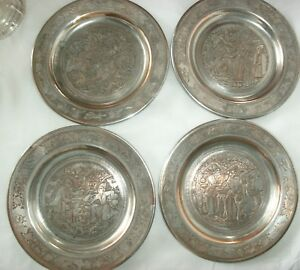 4 Antique Vintage Persian Etched Silver On Copper Plates 4 Scenes 6 1 2