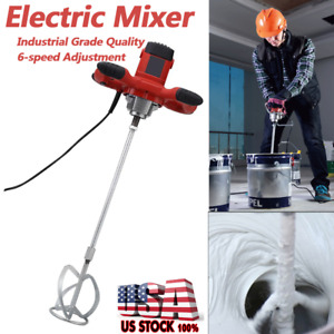 1500w Electric Mortar Mixer Dual High Low Gear 6 Speed Paint Cement Grout Us