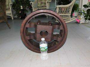 Huge Wooden Flat Belt Pulley 17 Dia X 6 1 2 Wide Steam Engine Industrial Age