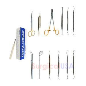 Periodontal Surgery Kit Of 23 Dental Instruments Forceps Curettes Retractors