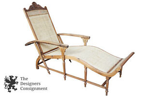 19th C Anglo Indian Teak Carved Chaise Lounger Cane Seat British Colonial Daybed