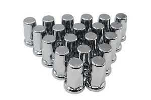 33mm Lug Nut Covers Chrome Push On Style Plastic 20 Flanged Silo Style