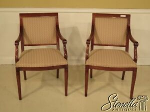 40657e Pair Of Southwood Regency Style Upholstered Open Arm Chairs