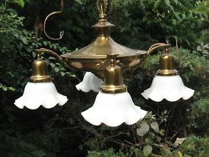 Vintage Art Deco Ceiling Fixture 4 Milk Glass Opalescent Shades All Brass Light